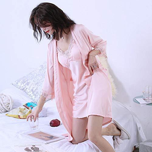 Lenceria mujer Pijamas sexy de seda de hielo para mujer tirantes pijamas tentadores trajes de dos piezas de seda para adultos pueden usar batas mujeres 160 (M) E1 # almohadilla para el pecho con cin