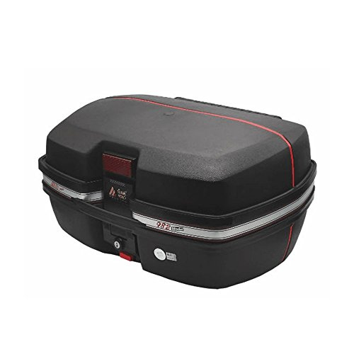 AUTOINBOX Universal Motorcycle Rear Top Box Tail Trunk Luggage Case,42 Litre Hard Case with Mounting Hardare (Black)