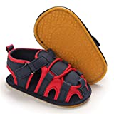 GAISUM Infant Boys Girls Summer Sandals Unisex Baby Closed Toe Soft Anti-Slip Rubber Sole Toddler Outdoor Athletic Beach Shoes (C/Navy&Red,12-18 Months)