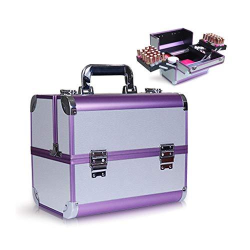 juego de alicates Caja de herramientas de maquillaje tren del caso cosmético profesional de la caja de aluminio portable makep caja plegable con 4 bandejas y 2 Bloqueo y hebilla kit de herramientas co