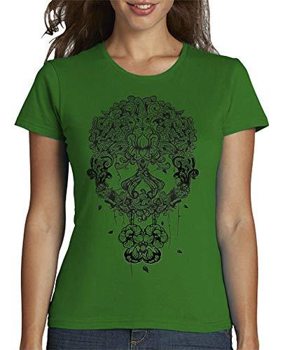latostadora - Camiseta Calavera Mexicana para Mujer Verde M