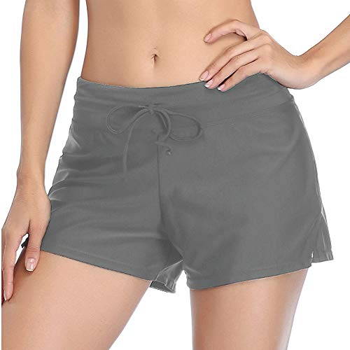 Summer Mae Women Swimsuits Bottom Swim Shorts Side Split Adjustable Boy Shorts Beach Tummy Control Swimwear Trunks Grey XL