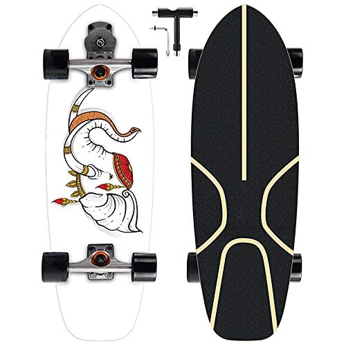 Patines de surf talla S7 camión bombeo monopatín, 75 × 24 cm, bombeo, rodamientos ABEC-11, rueda 70 51 mm, adecuado para jugadores experimentados o profesionales de skate de surf