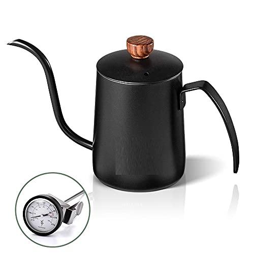 Cafetera Coffee Pot Tetera De Café De Acero Inoxidable De 600 Ml Con Cuello De Cisne Tetera Con Caño Y Termómetro Tetera De Goteo Para Verter Cuello De Cisne