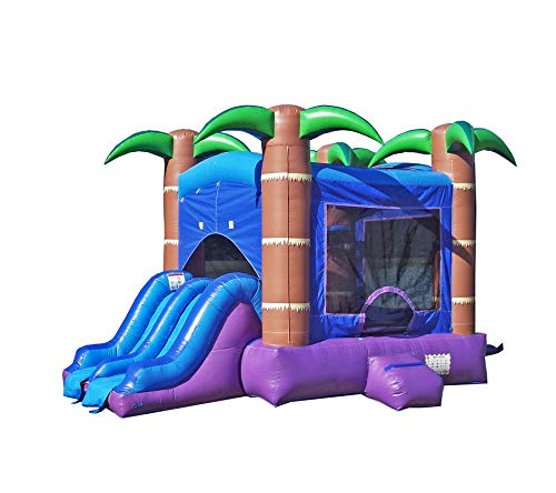 HeroKiddo Tropical Breeze Inflatable Bouncer with Dual Slides 100% Commercial PVC Vinyl (Blower Included), Purple/Blue/Green/Brown- Without Pool, 13'x17'