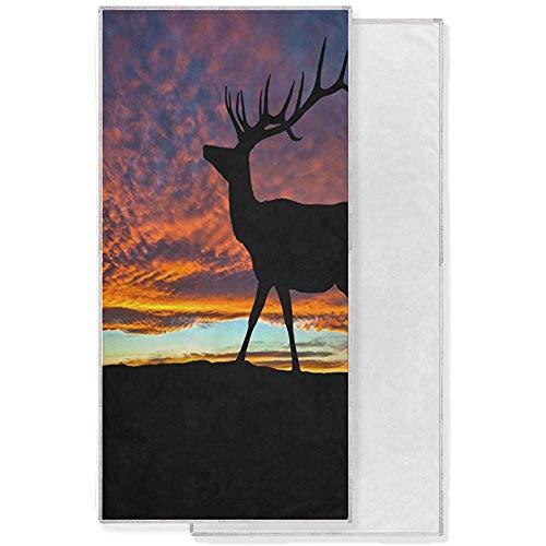 Red Deer Bull Elk en la Cima de la montaña Sunset Sky Cloud Toalla de baño Suave Toallas de Mano absorbentes Baño Camping