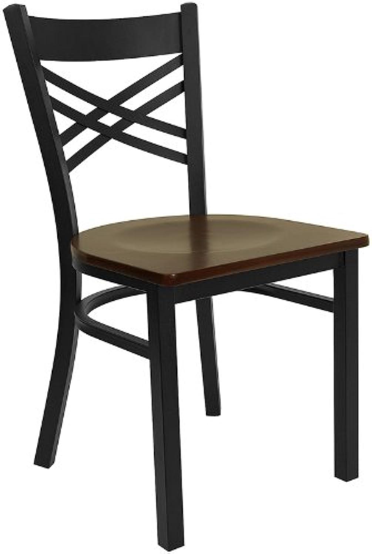 Flash Furniture HERCULES Series Black ''by'' Back Metal Restaurant Chair - Mahogany Wood Seat