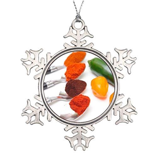 Cukudy Chili Poeder fotolijst Spice Decoratieve Kerstmis Sneeuwvlok Ornament voor Kerstboom