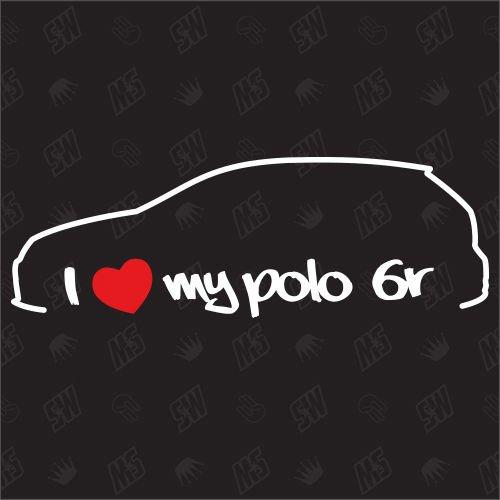 speedwerk-motorwear I Love My Polo 6R - Sticker kompatibel mit VW - Baujahr 2009-2014