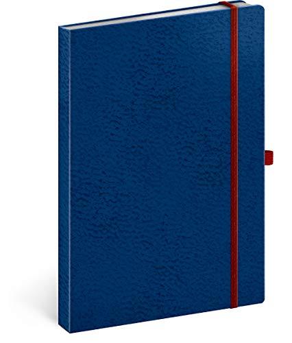 Notizbuch A5 Liniert, Notizblock Notizheft mit Gummiband, Business Notebook (Blau/Rot)