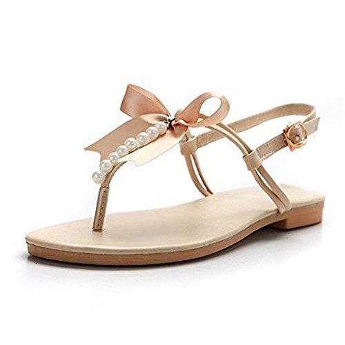 Minetom Damen Mädchen Sommer Flache Sandalen mit Schleife und Weiße Perlen T-Riemen Zehentrenner Sandaletten Peep Toe Schuhe (EU 39, Beige)