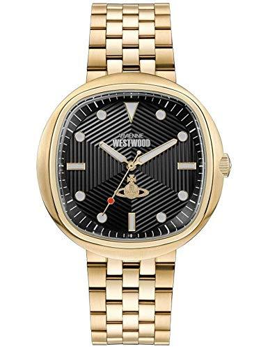 Vivienne Westwood VV177GDBK - Reloj de cuarzo para hombre, esfera analógica negra y metal dorado (43,00 mm)