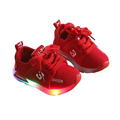 Tênis esportivo confortável para bebês meninos e meninas ACHICOO casual iluminação luminosa LED, Red 24, One Size