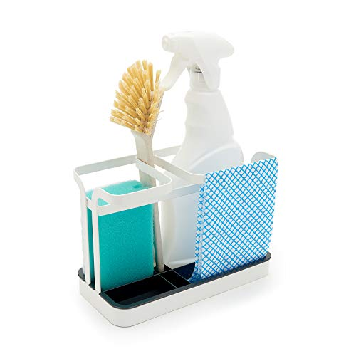 simplywire - Retro Flat Wire Sink Tidy Caddy - Kitchen Sink Organiser - Removable Drip Tray - White