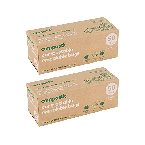 Compostic Home Compostable Resealable Snack Bags - Eco Friendly, Reusable, Zero Waste, Non-Toxic, Guilt-Free - Plastic Alternative for Earth Friendly Food Storage - (6'x3.5') 50 Bags (2 Pack)…