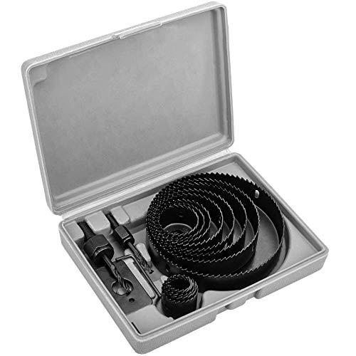 PrimeMatik - Estuche de 13 Coronas Redondas para serrar Agujeros de Madera 21 24 27 30 34 44 48 51 64 76 89 102 127 mm