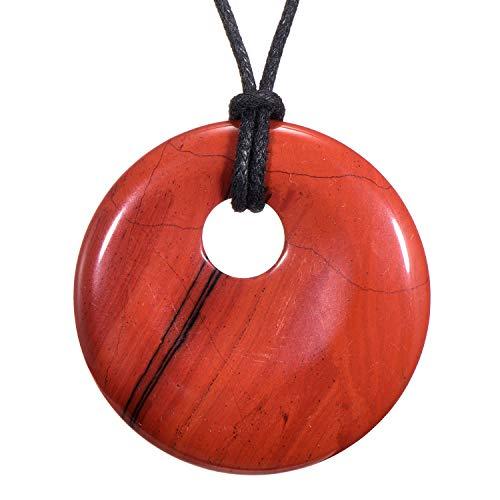 Morella Collar para Mujer 80 cm y Colgante de Gema en Forma de Donut Jaspe Rossa en Bolsa de Terciopelo