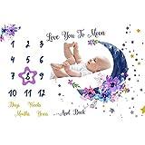 Manta de hito mensual para bebé, manta de fotos para baby shower recién...