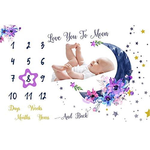 Manta de hito mensual para bebé, manta de fotos para baby shower recién nacido, manta de mes para decoración, manta de tabla de crecimiento de bebé de 60