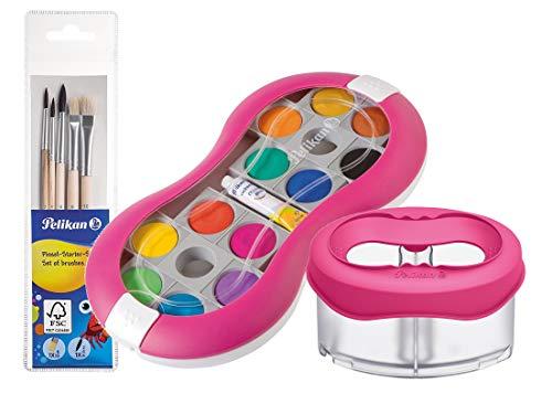 Pelikan Deckfarbkasten 735 SP/12 mit 12 Farben und 1 Tube Deckweiß/Starter (Magenta mit Space-Wasserbecher + Pinsel-Set)
