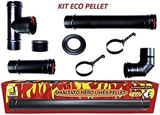 CHIMENEA kit eco estufa de pellets tubos esmaltados 80 mm de tubo de acero negro resistente 600 CE fabricado en Italia porcellanata de combustiòn