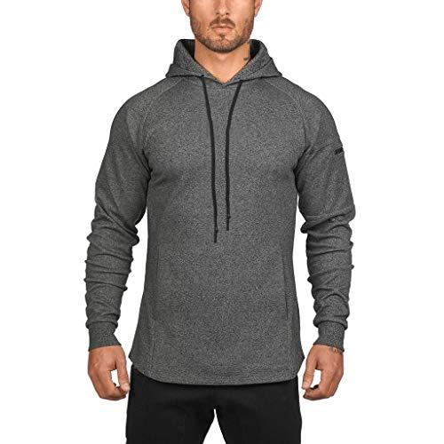 Bravetoshop Men's Mutil Pocket Sport Solid Sweatshirts Lightweight Long-Sleeve Hooded T-Shirt(Dark Gray,L)