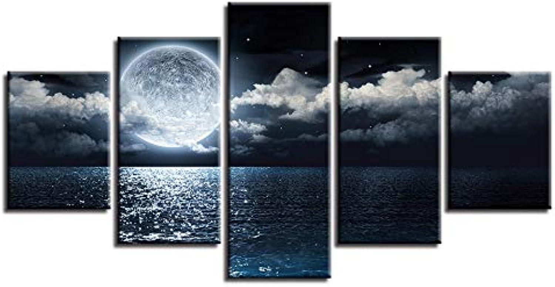 RMRM Marco Hogar Moderno Arte de la Parojo HD Imagen Impresa 5 Unidades Lago Luna Nube Estrella Vista Nocturna Cartel Modular Pintura de la Lona Sala de Estar Decoración 20x35cm20x45cm 20x55cm