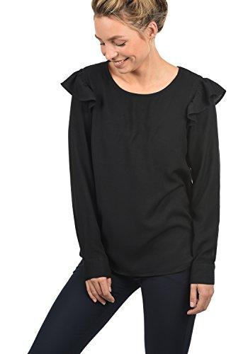 ONLY Smilja Damen Lange Bluse Hemdbluse Langarm Mit Rundhals Und Optional Mit Nadelstreifen Regular Fit, Größe:40, Farbe:Black
