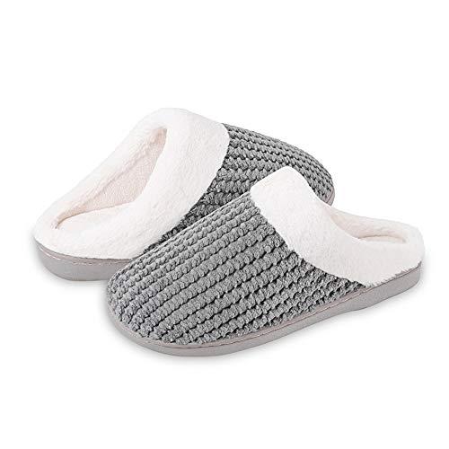 IceUnicorn Winter Hausschuhe Damen Memory Foam Plüsch Wärme Home rutschfeste Slippers wollähnliche für Drinnen und Draußen(Grau, 42/43EU)