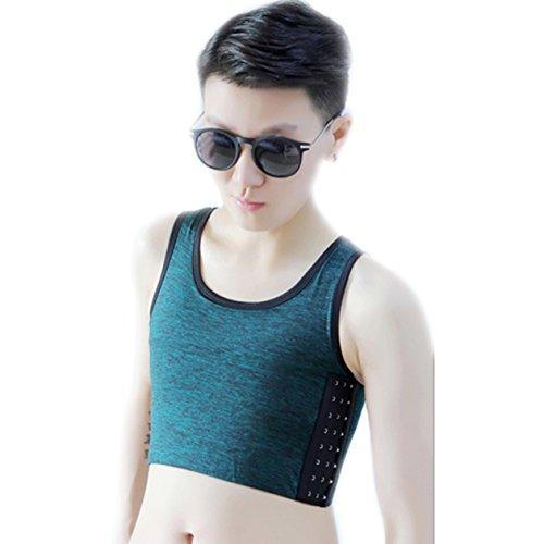 BaronHong Tomboy Trans Lesbische Baumwolle Brust Binder Plus Size Short Tank Top mit stärkeren Gummiband (ArmyGreen, 2XL)