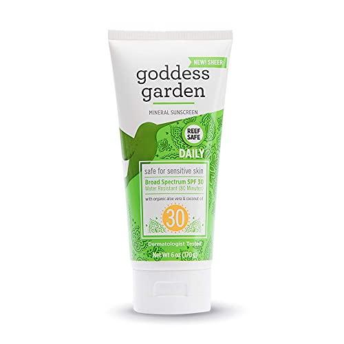 Goddess Garden - Daily SPF 30 Mineral Sunscreen Lotion - Sensitive Skin, Reef Safe, Sheer Zinc, Broad Spectrum, Water Resistant, Non-Nano, Vegan, Leaping Bunny Cruelty-Free - 6 oz Tube