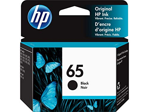 HP 65 | Ink Cartridge | Works with HP Deskjet 2600 Series, 3700 Series, HP ENVY 5000 Series, HP AMP 100, 120, 125, 130 | Black | N9K02AN