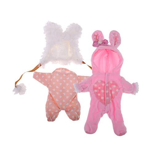 perfeclan Adorables Atuendos de Ropa para MellChan Baby Doll 9-11 Pulgadas Reborn Doll Look Completo 2 Juegos - Mamelucos con Capucha Jumpsuit Plush Hat