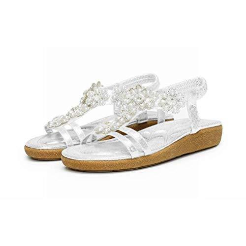 Women Sandals Sandales D'Été Bohème Sandales Femmes Plage Chaussures Plates Grande Taille Femmes Antidérapantes, Silver, 36