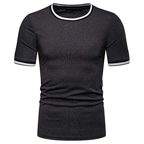Herren Sommer Kurzarm T-Shirt Gestreifte Tshirt Weisse Slim Fit Knopfleiste...