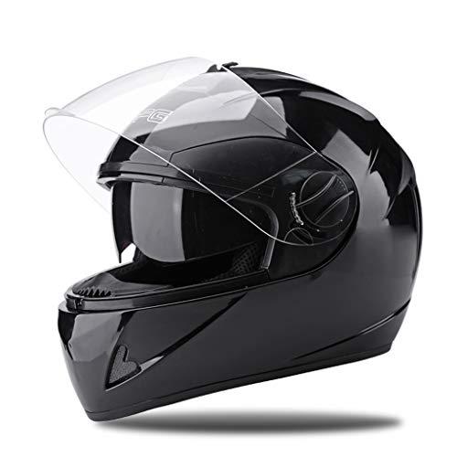 FLY® Casque De Moto, Casque Intégral À Double Miroir, Saison Universelle, Circonférence De La Tête Chaude Et Anti-buée (54-60CM) (Couleur : NOIR)