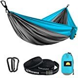 QWXNRG Hammock Camping Single Size with Tree Straps, Lightweight & Portable Nylon Parachute Hammock Pack for Camping Backpacking Hiking Outfitters Beach Travel (Light Blue Small)