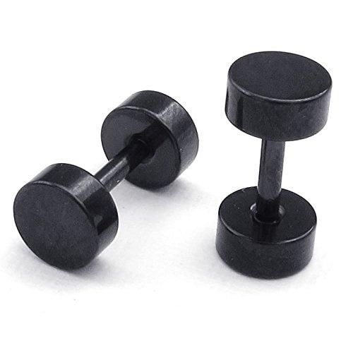 Joyas para hombre KONOV pendientes para mujer, 5 mm Círculo Pendientes, acero inoxidable, negro