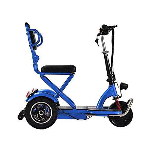 Takmeway Marco Adulta Triciclo motorizado de accionamiento eléctrico del Triciclo para Adultos Plegable de Acero Asiento cómodo y Confortable con Litio Azul batería,10A