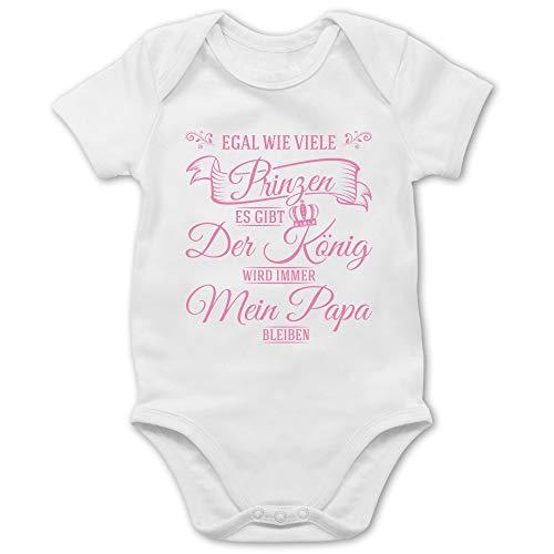 Shirtracer Sprüche Baby - Egal wie viele Prinzen es gibt - Der König Wird Immer Mein Papa bleiben - 3/6 Monate - Weiß - Body sprüche - BZ10 - Baby Body Kurzarm für Jungen und Mädchen