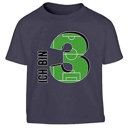 Kindergeburtstag DREI Jahre Ich Bin 3 Kleinkind Kinder Jungen T-Shirt 104 Marineblau