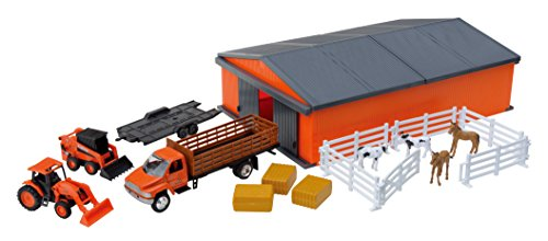New-Ray Kubota Farm Vehicles with Machine Shed Set