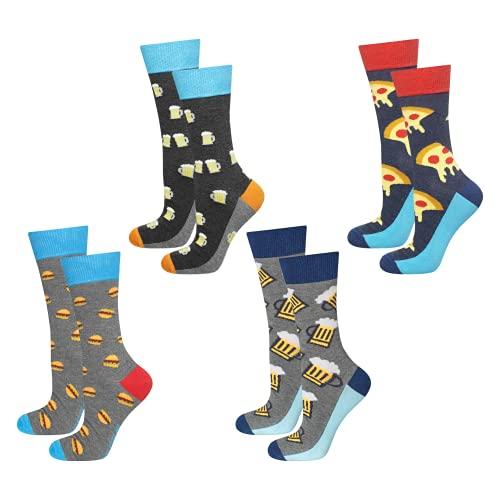 soxo lustige Herren Lange Socken | Größe 40-45 | Bunte Herrensocken aus Baumwolle mit witzigen Motiven | Besondere, mehrfarbig gemusterte Socken für Männer