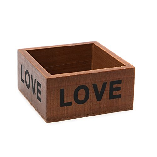 AXSWER Pot de fleurs en bois pour plantes succulentes, décoration de balcon, boîte de rangement carrée