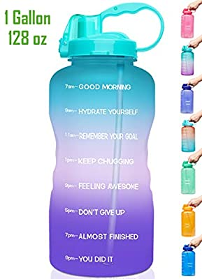 Venture Pal Large 1 Gallon/128 OZ (When Full) Motivational BPA Free Leakproof Water Bottle with Straw & Time Marker Perfect for Fitness Gym Camping Outdoor Sports-Purple/Pink/Green Gradient