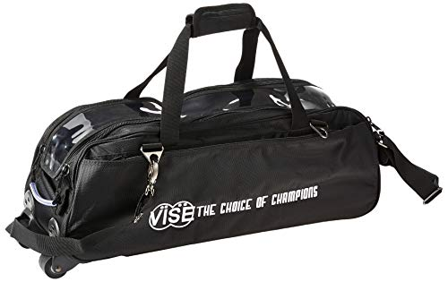 Vise Three Ball Tote Roller Bowling Bag, Black