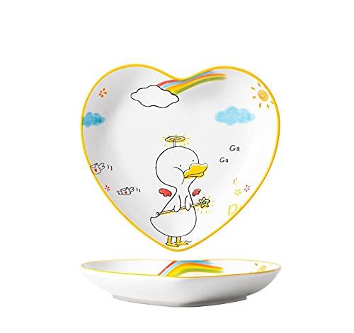 Plato de cerámica de dibujos animados lindo hogar plato hondo plato vajilla ensalada de frutas plato pato