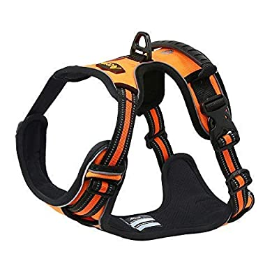 Acare Dog Harness Vest with Handle, Adjustable Dog Vest Harness Medium for Dogs in Training Walking - No More Pulling, Tugging or Choking - Orange