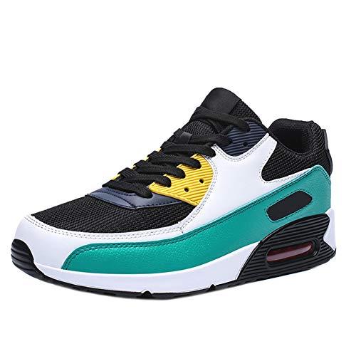 Zapatos para Correr para Mujeres Zapatillas de Cuero para Hombres Zapatos Deportivos Transpirables Zapatos de Malla y amortiguación de Aire para Mujeres, con Cordones Planos Antideslizantes
