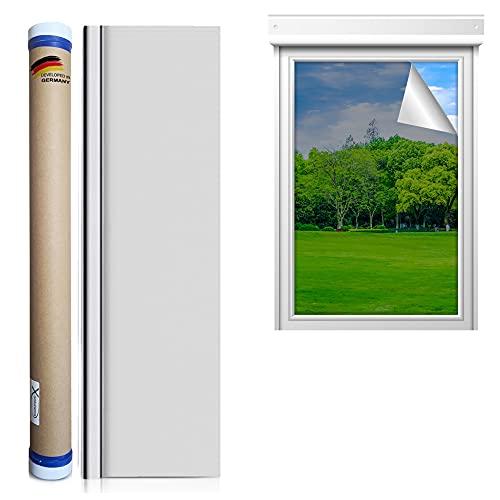 X-Solutions®   Sonnenschutzfolie Fenster Außen oder Innen   Spiegelfolie selbstklebend   Silber reflektierende Fensterfolie   Hitzeschutz Sichtschutz, UV-Sonnenschutz Folie   90cm x 200cm